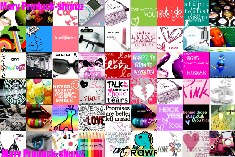 Girly icon collage Twitter Backgrounds - Pimp-My-Profile.com